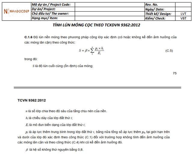 DỰ ĐOÁN LÚN MÓNG CỌC THEO TCVN 9362-2012 - EXCEL 12