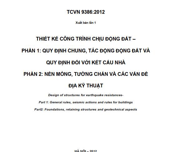 TCVN 9386_2012 THIẾT KẾ CÔNG TRÌNH CHỊU ĐỘNG ĐẤT
